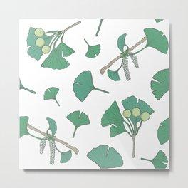 Green Ginko Branches Metal Print