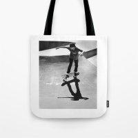 skateboard Tote Bags featuring Skateboard by Chiarra Mandato