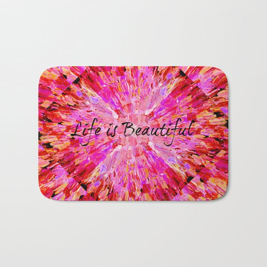LIFE IS BEAUTIFUL Bold Pink Bird Feathers Ocean Waves Painting Sea Romantic Love Girlie Abstract Bath Mat