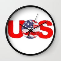 soccer Wall Clocks featuring USA Soccer by Bunhugger Design