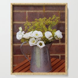 White gentians in rustic pitcher Serving Tray