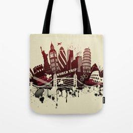 figures on international sites in grunge illustration Tote Bag