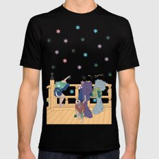 Hokusai People & Snowflakes Black MEDIUM Mens Fitted Tee