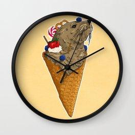 Brown Seal Ice Cream Wall Clock