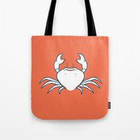 crab Tote Bags featuring Crab by Josè Sala
