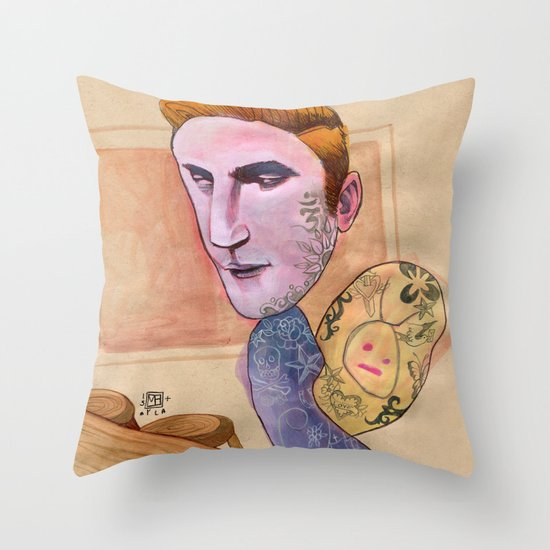 TATTOOED SNAIL DUDE Throw Pillow