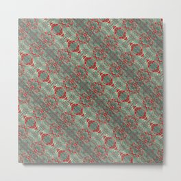 Autumn Green & Red Metal Print