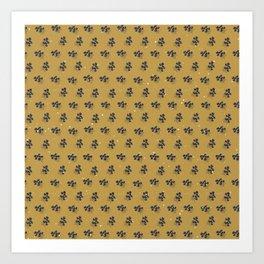 Minimal Pattern :: Yellow Blue Circle Flowers Art Print