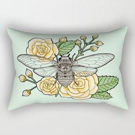 Cicada with Roses - Mint Rectangular Pillow
