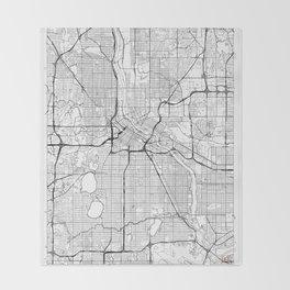 Minneapolis Map White Throw Blanket