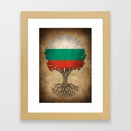 Vintage Tree of Life with Flag of Bulgaria Framed Art Print