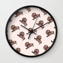 Dog Pattern 2 on Girly Pink Wall Clock