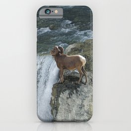Big Horn Sheep & Rocky Mountain Waterfall iPhone Case