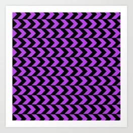 GRAPHIC GRID CHEVRON ABSTRACT DESIGN (BLACK AND PURPLE) SERIES 4 OF 6 Art Print