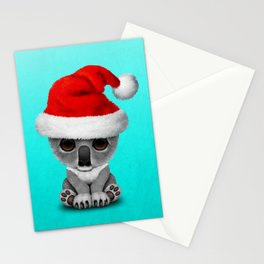 Christmas Koala Wearing a Santa Hat Stationery Cards