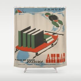 Vintage poster -  A Year of Good Reading Ahead Shower Curtain
