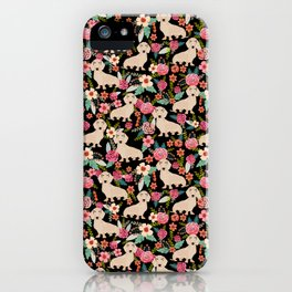 Doxie Florals - vintage doxie and florals gift gifts for dog lovers, dachshund decor, cream doxie iPhone Case
