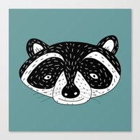 racoon Canvas Prints featuring racoon! by gal shkedi