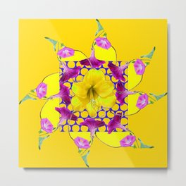 YELLOW ABSTRACT  GEOMETRIC PURPLE FLORALS Metal Print