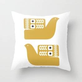 Yellow Birds // Mustard Bird // Folk Art Birds // Scandinavian Birds Throw Pillow