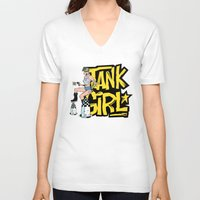 tank girl V-neck T-shirts featuring Tank Girl Pinup by AngoldArts