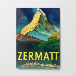 Zermatt Switzerland Vintage Mid Century Modern Travel Poster Metal Print