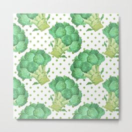 Broccoli on Green dotted Background Metal Print