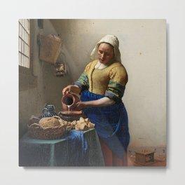 The milkmaid, Johannes Vermeer, ca. 1660 Metal Print