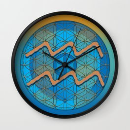 Flower of Life AQUARIUS Astrology Design Wall Clock