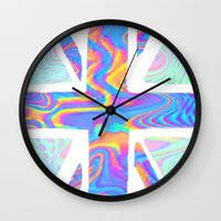 holographic Wall Clocks featuring Holographic Union Jack  by Berberism