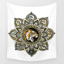 Black and Gold Roaring Tiger Mandala With 8 Cat Eyes Wall Tapestry
