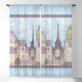 Paris Eiffel Tower inspired landscape painting by Kristie Hubler Sheer Curtain