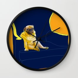 Dog in a chair #2 PUG Wall Clock
