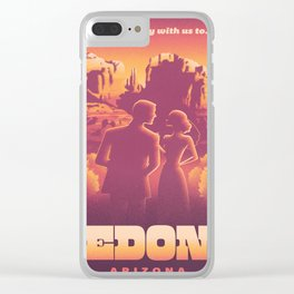 Sedona Grand Canyon Vintage Travel Poster Sunset Hues Silhouette Couple Lovers Clear iPhone Case