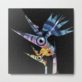 Trippin' Flippin' Birds of Paradise Floral Surrealism Metal Print