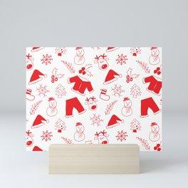 Santa Deer and Snowman Christmas Pattern Mini Art Print
