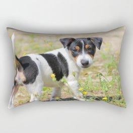 Jack-russell terrier puppy careful Rectangular Pillow