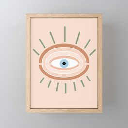 Retro evil eye - neutrals Framed Mini Art Print