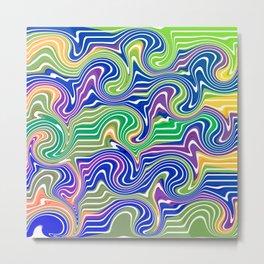 Swirls in blue and green Metal Print