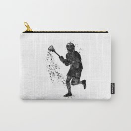 Boy Lacrosse Black Watercolor Sports Art Carry-All Pouch