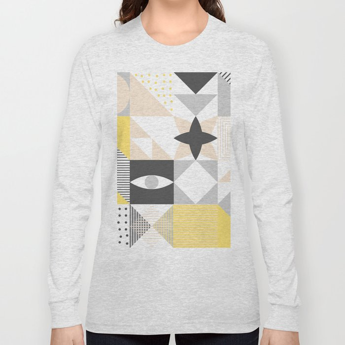 7e158f0c8825 Geometric Pattern based on Scandinavian Graphic Design Long Sleeve T-shirt