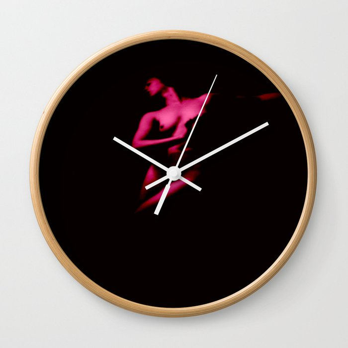Vintage Nude Photo: Magenta Pink Wall Clock