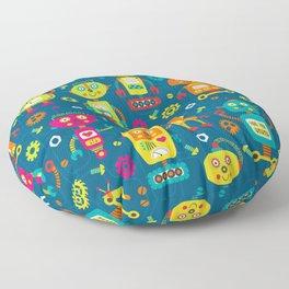 Blue Green Retro Robot Kids Pattern Floor Pillow