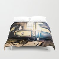 tv Duvet Covers featuring Old televisions in a dusty attic by cannedmoods