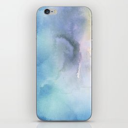 Navy blue teal lavender yellow watercolor brushstrokes iPhone Skin