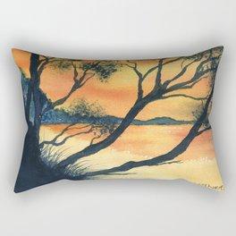 Sunset Silhouette at Squeaking Point Tasmania Rectangular Pillow
