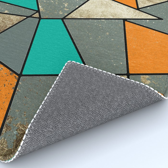 Modern Rustic Orange Teal and Gray Gold Geometric Rug by ...