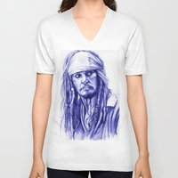 jack sparrow V-neck T-shirts featuring Jack Sparrow by Luna Perri