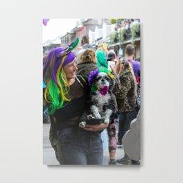 Dog & Human in Mardi Gras Wigs Metal Print