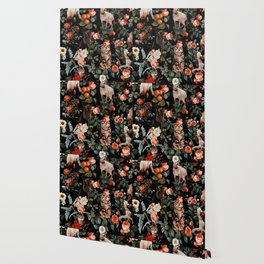 Cat and Floral Pattern II Wallpaper